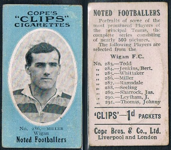 1909 Cope's Clips 3rd series Noted Footballers, 500 back, 286 Wigan Warriors Miller
